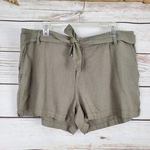 A.n.a. |  Linen Blend Tie Belt Olive Green Shorts